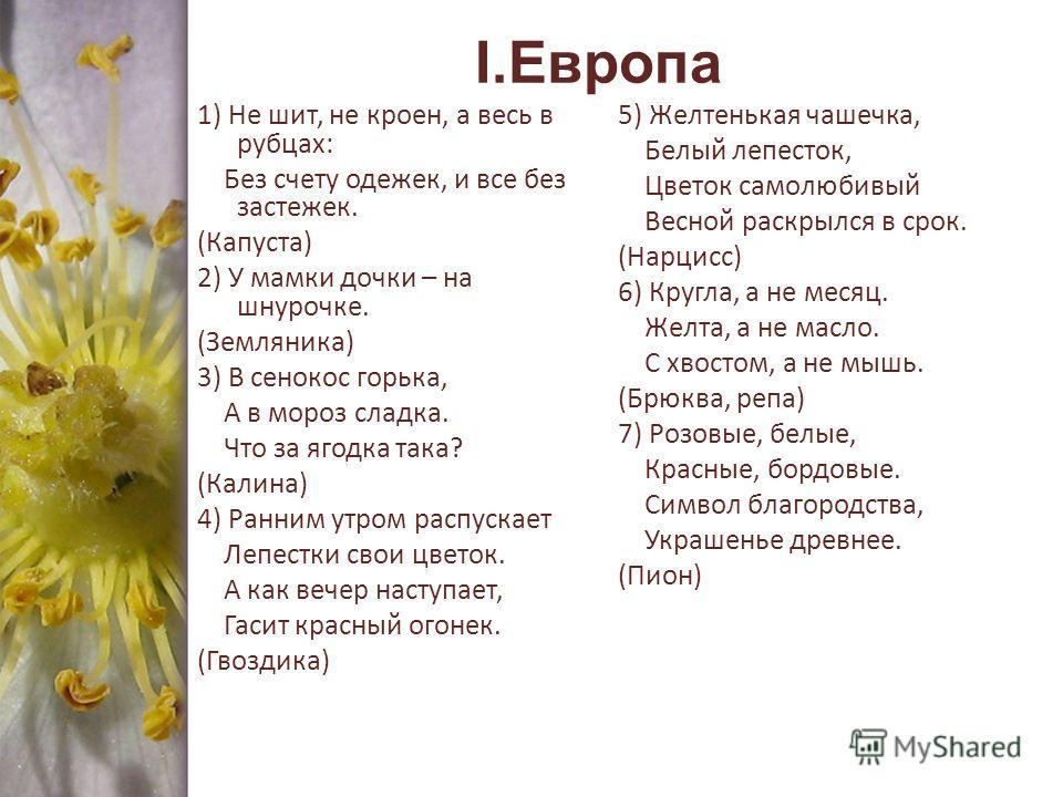 I.Европа 1) Не шит, не кроен, а весь в рубцах: Без счету одежек, и все без застежек. (Капуста) 2) У мамки дочки – на шнурочке. (Земляника) 3) В сенокос горька, А в мороз сладка. Что за ягодка така? (Калина) 4) Ранним утром распускает Лепестки свои цв