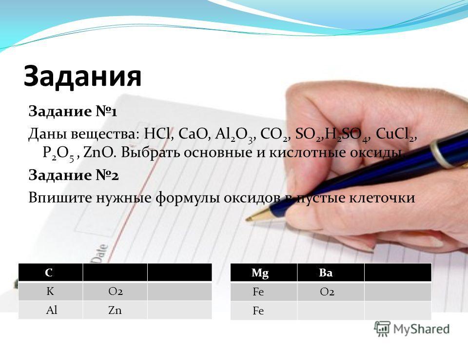 Задания Задание 1 Даны вещества: HCl, CaO, Al 2 O 3, CO 2, SO 2,H 2 SO 4, CuCl 2, P 2 O 5, ZnO. Выбрать основные и кислотные оксиды. Задание 2 Впишите нужные формулы оксидов в пустые клеточки C K O2 Al Zn Mg Ba Fe O2 Fe