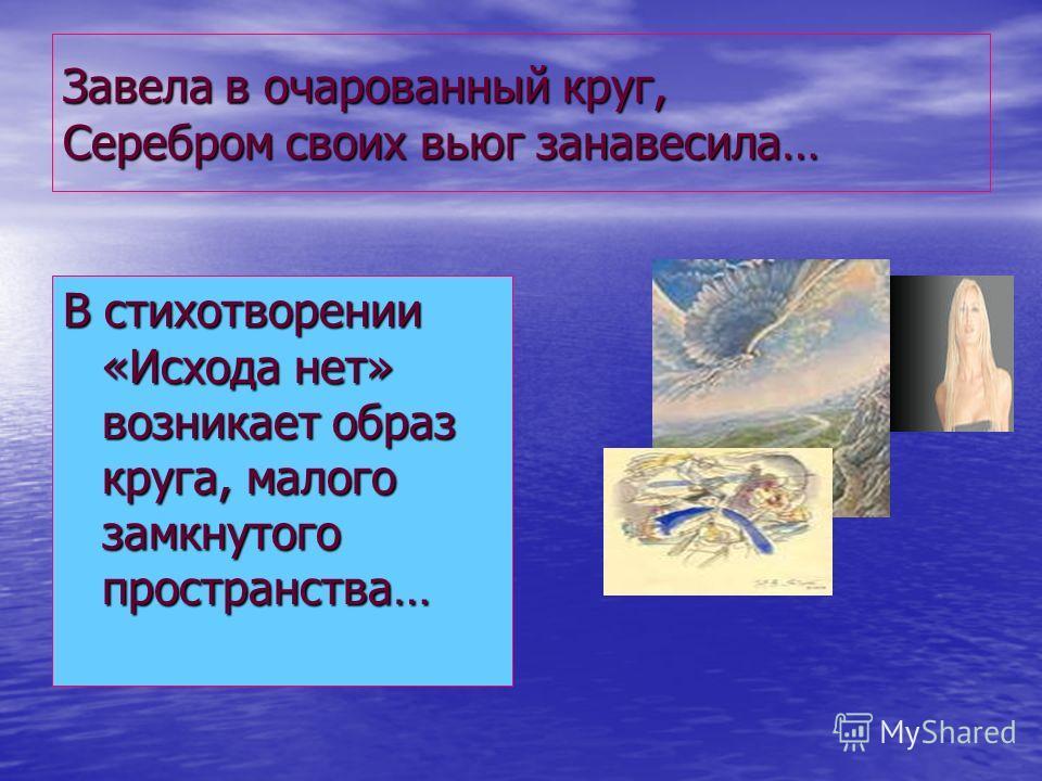 Завела в очарованный круг, Серебром своих вьюг занавесила… В стихотворении «Исхода нет» возникает образ круга, малого замкнутого пространства…