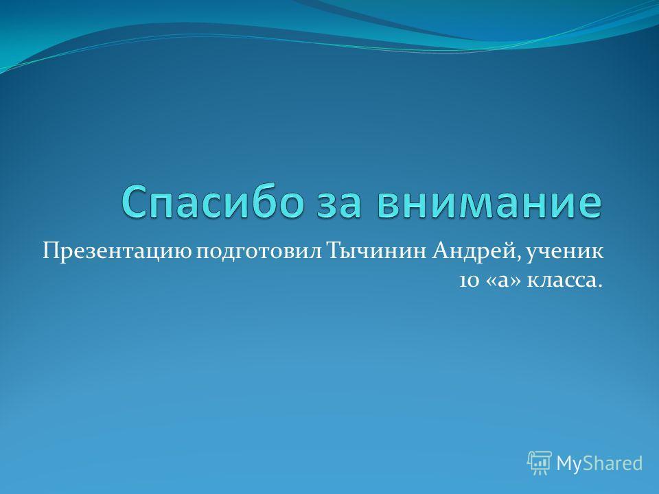 Презентацию подготовил Тычинин Андрей, ученик 10 «а» класса.