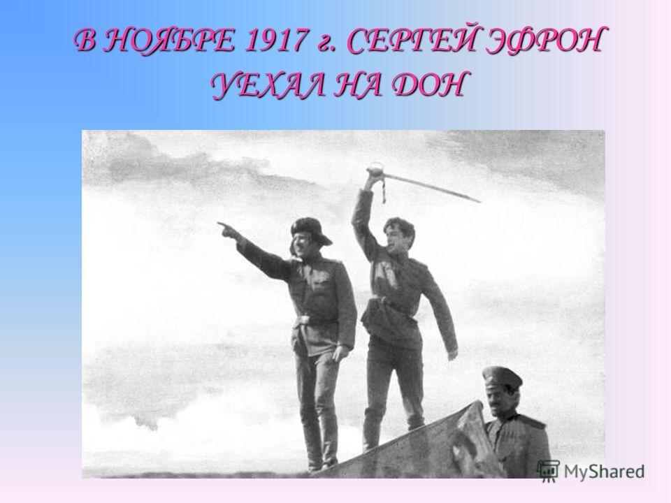 В НОЯБРЕ 1917 г. СЕРГЕЙ ЭФРОН УЕХАЛ НА ДОН
