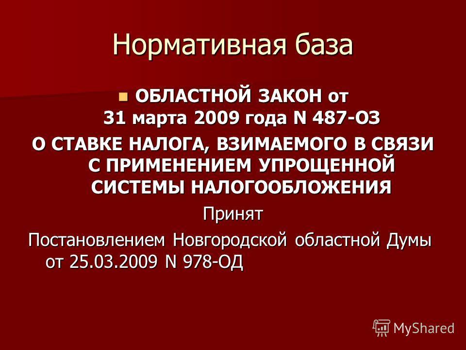 Нормативная база ОБЛАСТНОЙ ЗАКОН от 31 марта 2009 года N 487-ОЗ ОБЛАСТНОЙ ЗАКОН от 31 марта 2009 года N 487-ОЗ О СТАВКЕ НАЛОГА, ВЗИМАЕМОГО В СВЯЗИ С ПРИМЕНЕНИЕМ УПРОЩЕННОЙ СИСТЕМЫ НАЛОГООБЛОЖЕНИЯ Принят Постановлением Новгородской областной Думы от 2