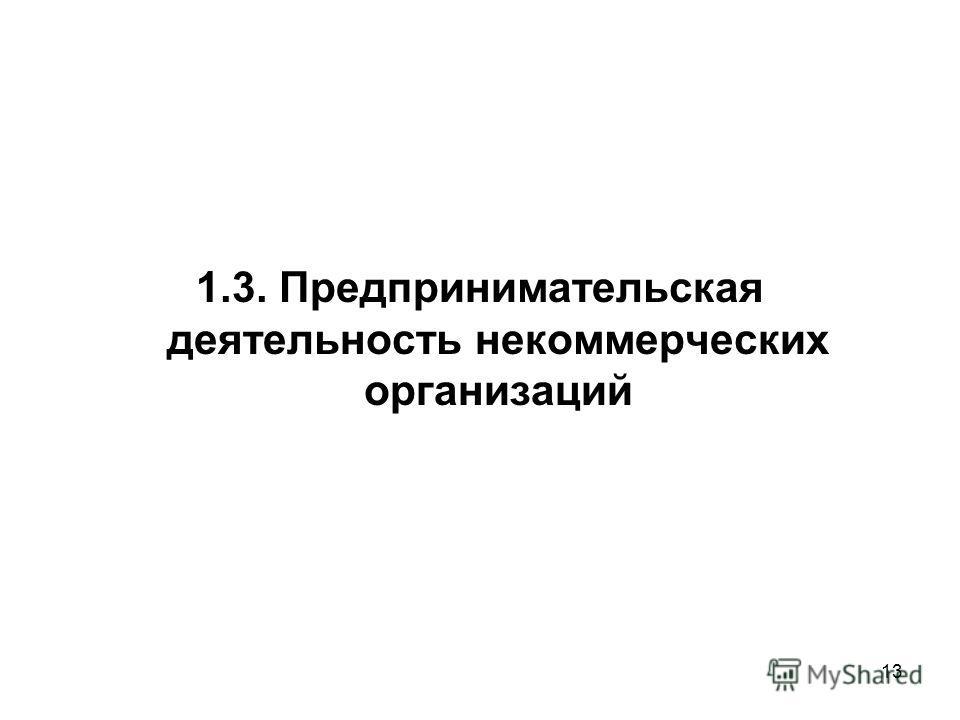 13 1.3. Предпринимательская деятельность некоммерческих организаций