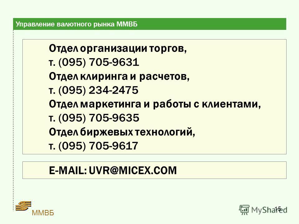 15 ММВБ Отдел организации торгов, т. (095) 705-9631 Отдел клиринга и расчетов, т. (095) 234-2475 Отдел маркетинга и работы с клиентами, т. (095) 705-9635 Отдел биржевых технологий, т. (095) 705-9617 Управление валютного рынка ММВБ E-MAIL: UVR@MICEX.C