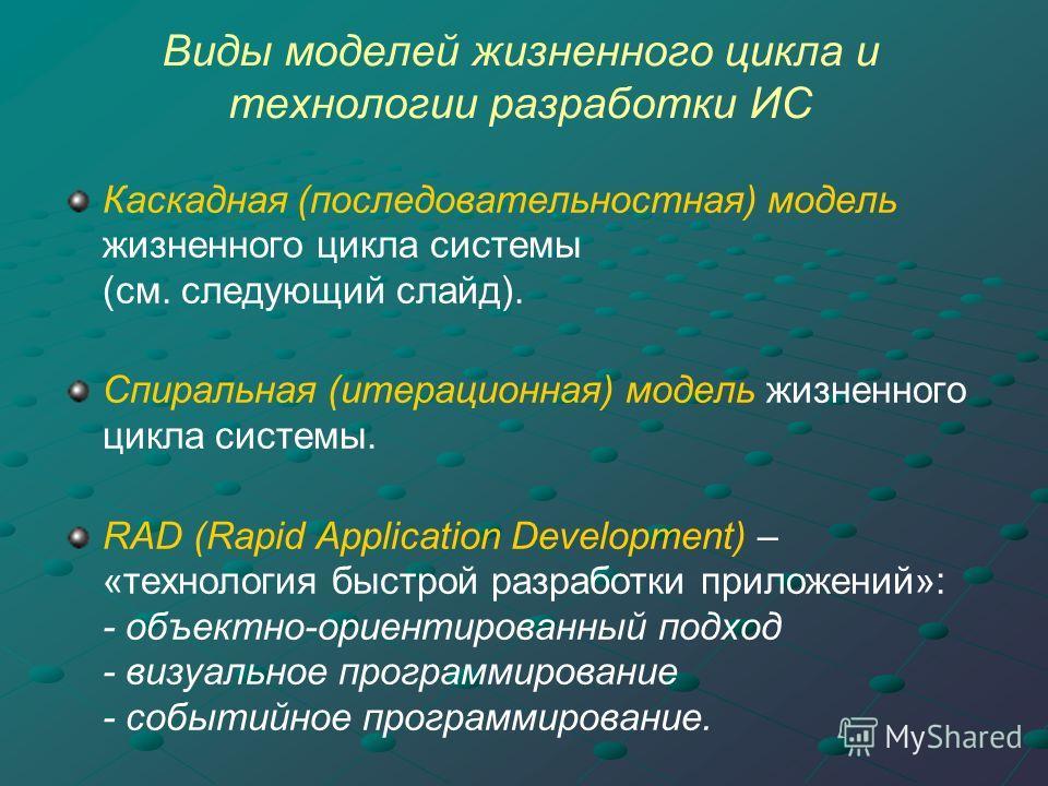 Виды моделей жизненного цикла и технологии разработки ИС Каскадная (последовательностная) модель жизненного цикла системы (см. следующий слайд). Спиральная (итерационная) модель жизненного цикла системы. RAD (Rapid Application Development) – «техноло