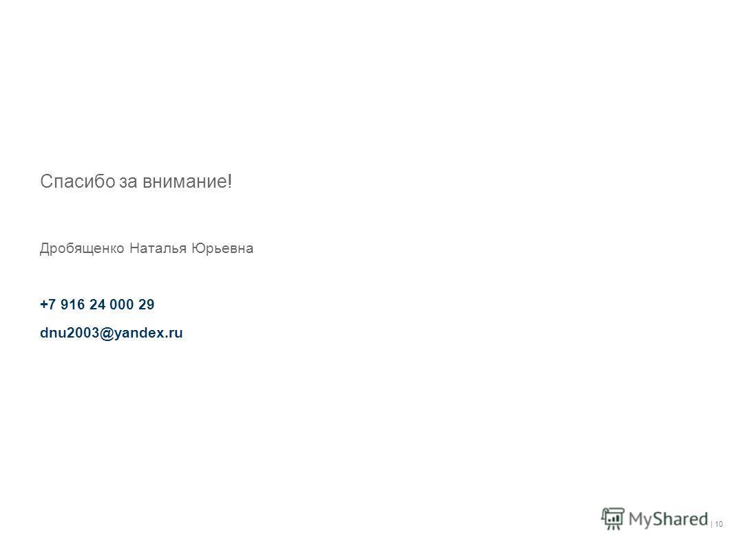 | 10 Спасибо за внимание! Дробященко Наталья Юрьевна +7 916 24 000 29 dnu2003@yandex.ru