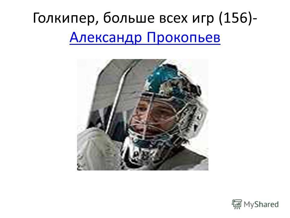 Голкипер, больше всех игр (156)- Александр Прокопьев Александр Прокопьев
