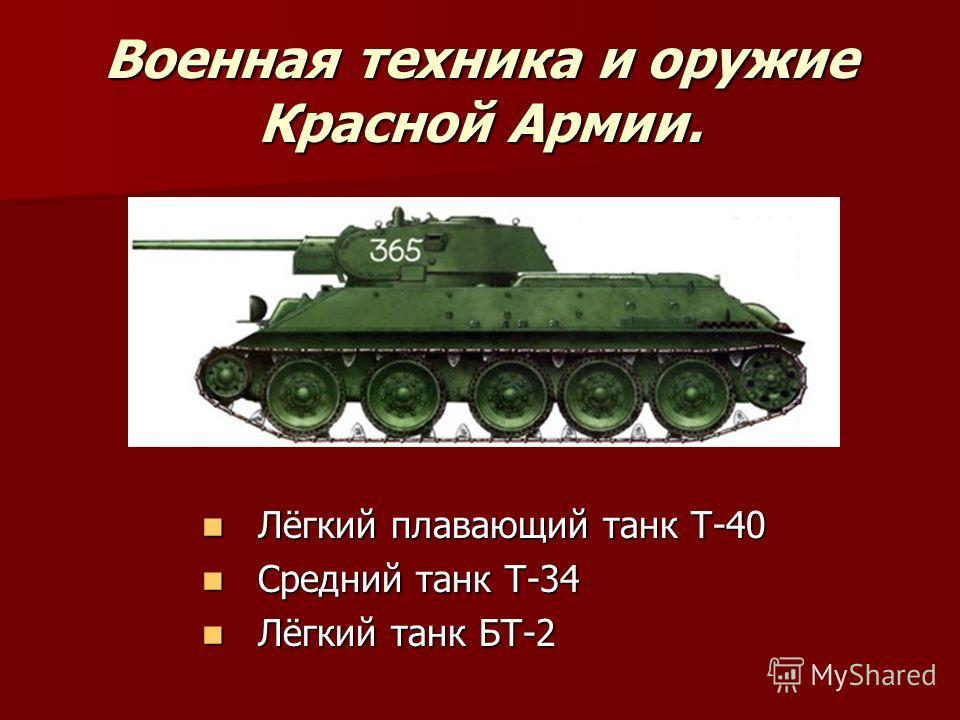 Военная техника и оружие Красной Армии. Лёгкий плавающий танк Т-40 Лёгкий плавающий танк Т-40 Средний танк Т-34 Средний танк Т-34 Лёгкий танк БТ-2 Лёгкий танк БТ-2