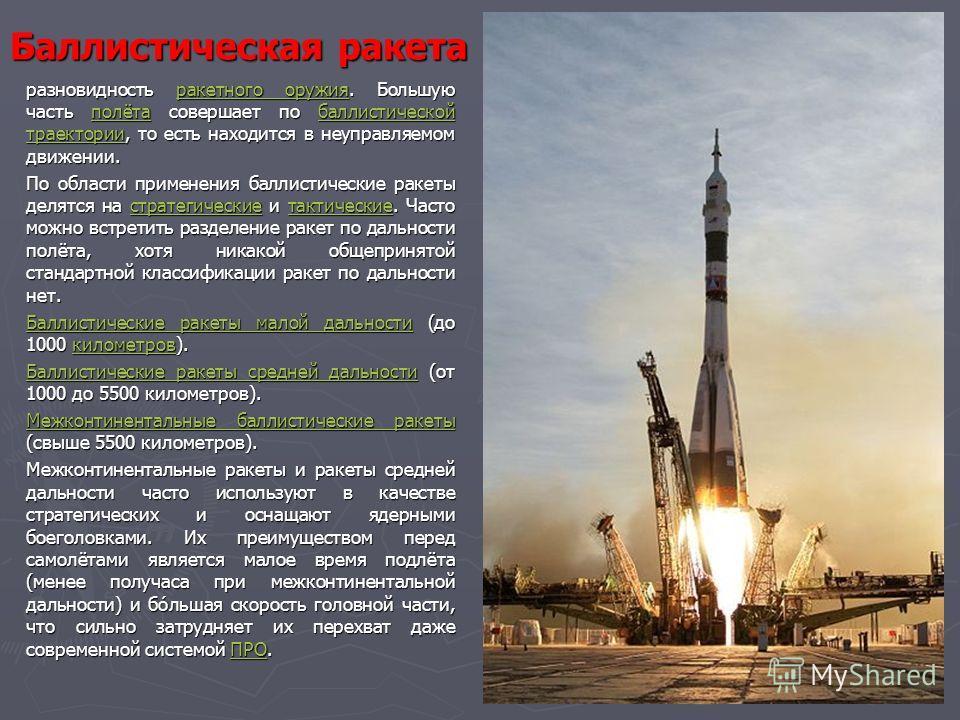 Баллистическая ракета разновидность ракетного оружия. Большую часть полёта совершает по баллистической траектории, то есть находится в неуправляемом движении.ракетного оружияполётабаллистической траектории По области применения баллистические ракеты