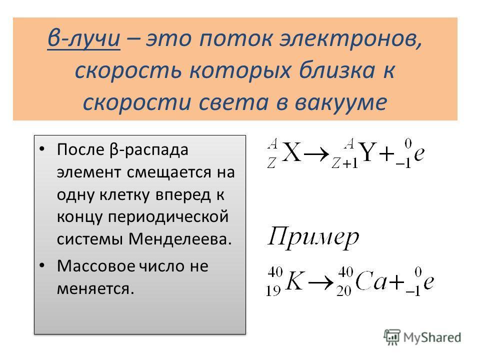 β-лучи – это поток электронов, скорость которых близка к скорости света в вакууме После β-распада элемент смещается на одну клетку вперед к концу периодической системы Менделеева. Массовое число не меняется. После β-распада элемент смещается на одну