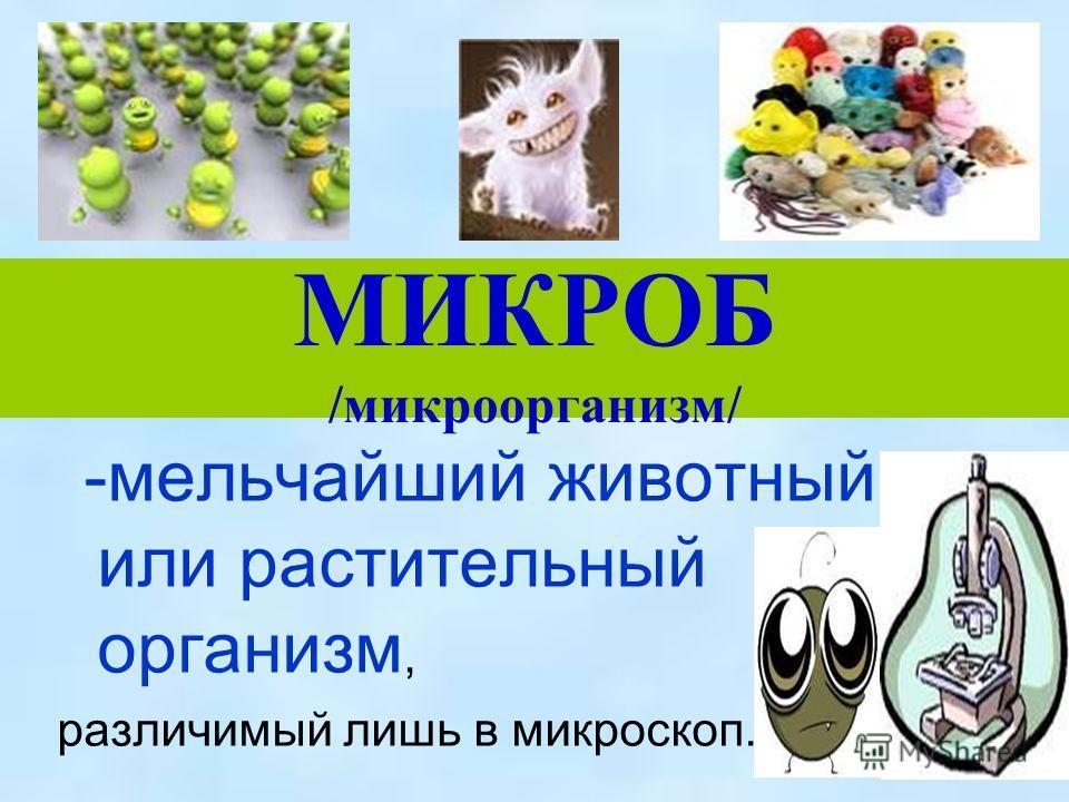 МИКРОБ /микроорганизм/ -мельчайший животный или растительный организм, различимый лишь в микроскоп.
