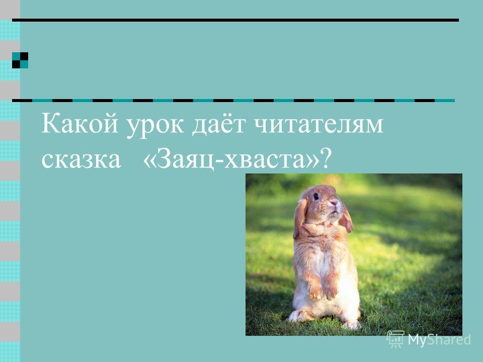 Какой урок даёт читателям сказка «Заяц-хваста»?
