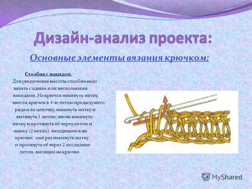 Основные элементы вязания крючком: Столбик без накида. Крючок ввести в 3 -ю петлю цепочки спереди назад. Накинуть нитку на крючок и вытянуть петлю. Накинуть нитку ещё раз на крючок и протащить её через 2 петли, висящие на крючке.