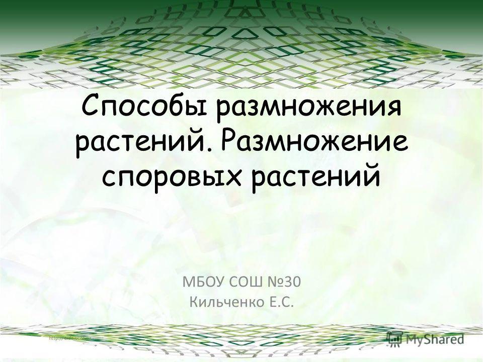 Способы размножения растений. Размножение споровых растений МБОУ СОШ 30 Кильченко Е.С.