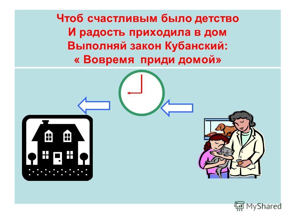 Чтоб счастливым было детство И радость приходила в дом Выполняй закон Кубанский: « Вовремя приди домой»