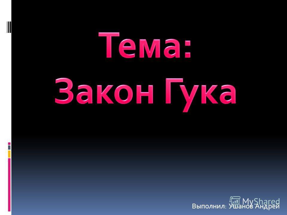 Выполнил: Ушанов Андрей