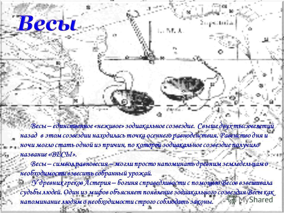 Весы – единственное «неживое» зодиакальное созвездие. Свыше двух тысячелетий назад в этом созвездии находилась точка осеннего равноденствия. Равенство дня и ночи могло стать одной из причин, по которой зодиакальное созвездие получило название «ВЕСЫ».