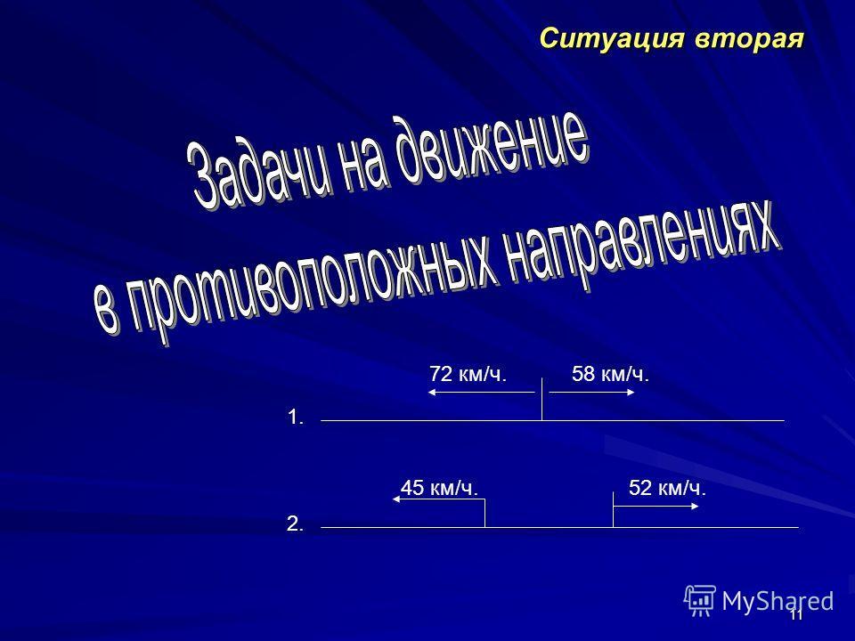 11 Ситуация вторая 1. 2. 72 км/ч.58 км/ч. 45 км/ч.52 км/ч.