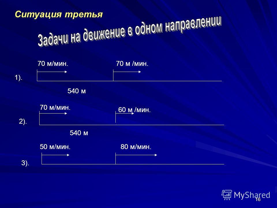 16 Ситуация третья 540 м 70 м/мин. 1). 2). 70 м/мин. 60 м /мин. 540 м 3). 50 м/мин.80 м/мин.