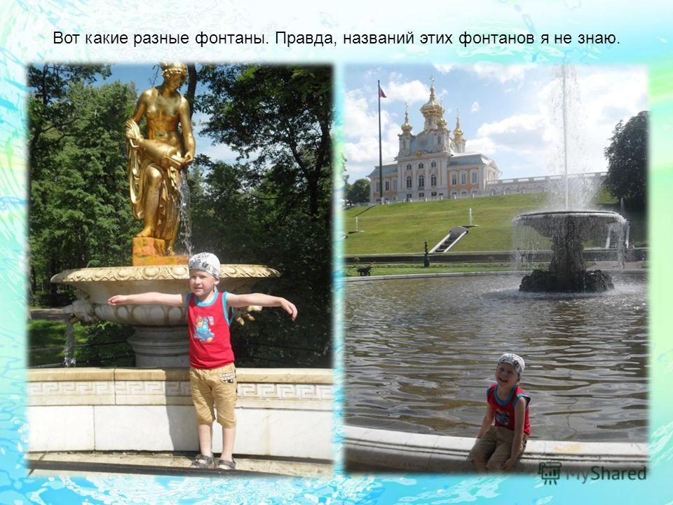 Вот какие разные фонтаны. Правда, названий этих фонтанов я не знаю.