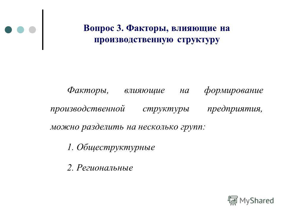 Вопрос 3. Факторы, влияющие на производственную структуру Факторы, влияющие на формирование производственной структуры предприятия, можно разделить на несколько групп: 1. Общеструктурные 2. Региональные