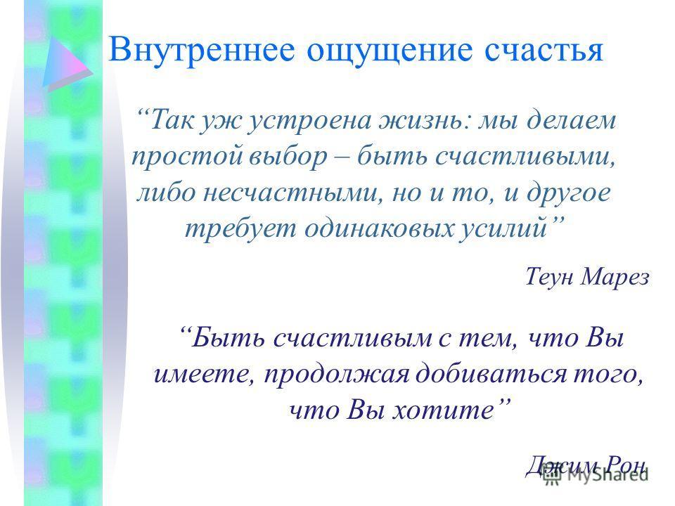 Позитивное мышление Внутреннее ощущение счастья Отношение к трудностям Использование успешного прошлого опыта Наш круг общения Позитивные утверждения в мыслях и речи