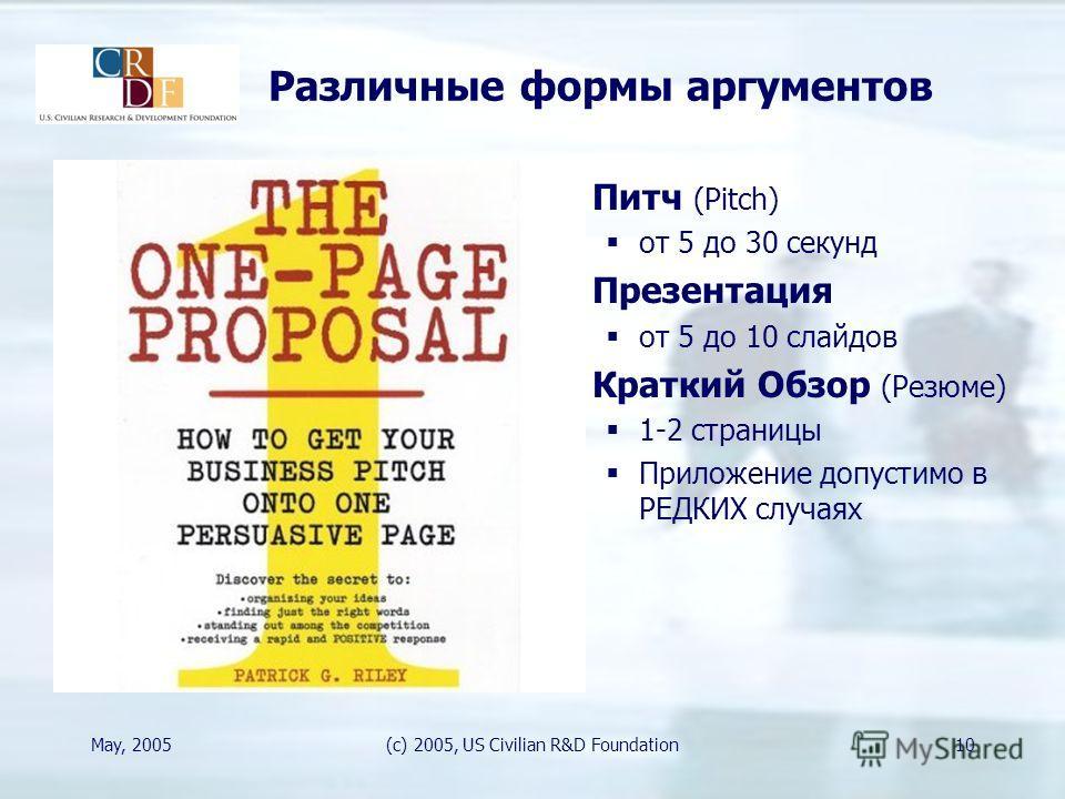 May, 2005(c) 2005, US Civilian R&D Foundation10 Различные формы аргументов Питч (Pitch) от 5 до 30 секунд Презентация от 5 до 10 слайдов Краткий Обзор (Резюме) 1-2 страницы Приложение допустимо в РЕДКИХ случаях
