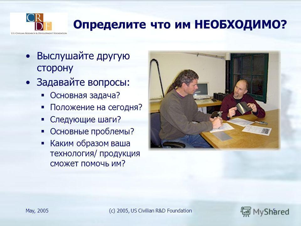 May, 2005(c) 2005, US Civilian R&D Foundation5 Определите что им НЕОБХОДИМО? Выслушайте другую сторону Задавайте вопросы: Основная задача? Положение на сегодня? Следующие шаги? Основные проблемы? Каким образом ваша технология/ продукция сможет помочь