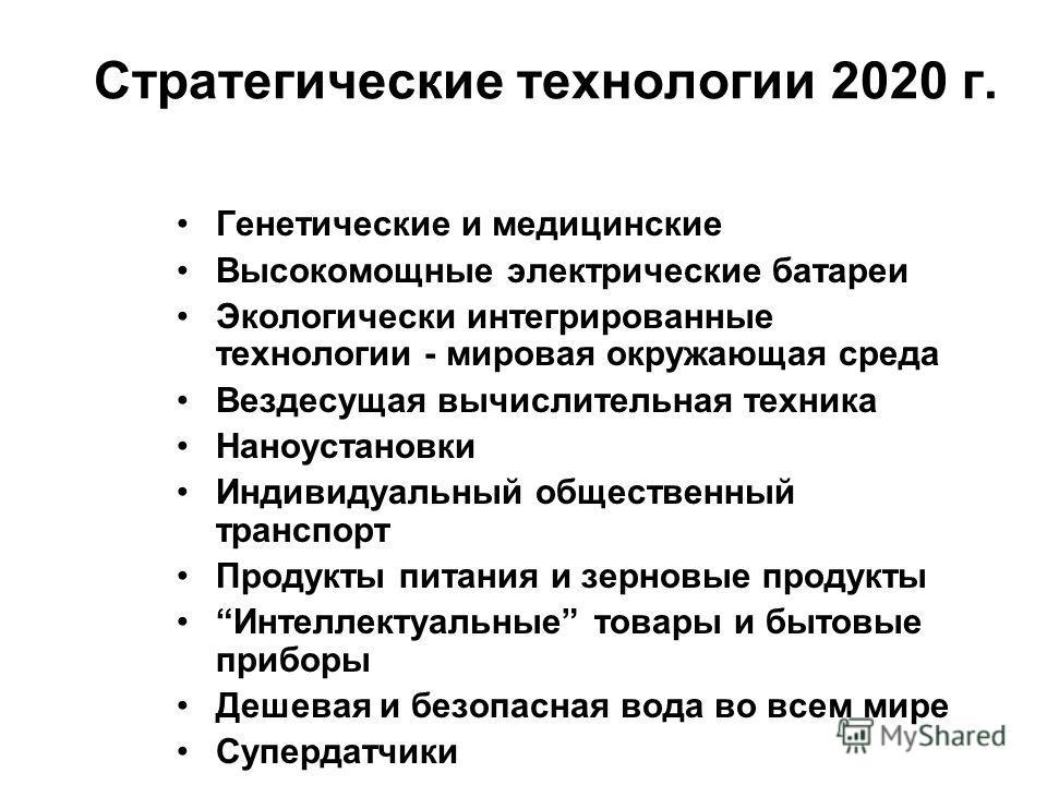 Стратегические технологии 2020 г. Генетические и медицинские Высокомощные электрические батареи Экологически интегрированные технологии - мировая окружающая среда Вездесущая вычислительная техника Наноустановки Индивидуальный общественный транспорт П