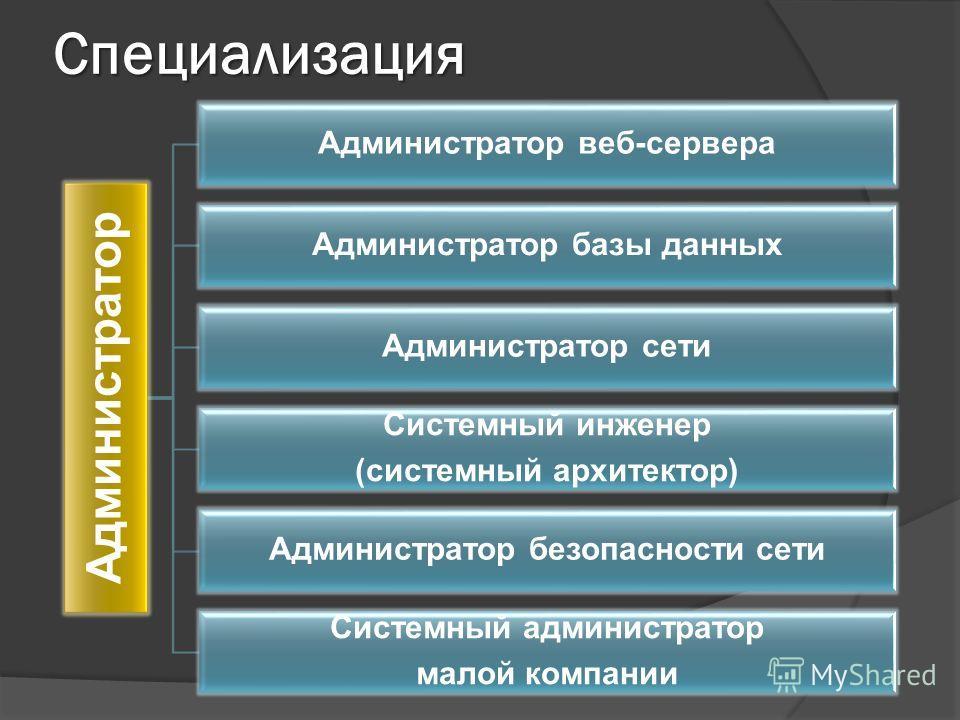 Специализация Администратор Администратор веб-сервера Администратор базы данных Администратор сети Системный инженер (системный архитектор) Администратор безопасности сети Системный администратор малой компании