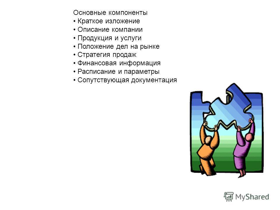 Основные компоненты Краткое изложение Описание компании Продукция и услуги Положение дел на рынке Стратегия продаж Финансовая информация Расписание и параметры Сопутствующая документация