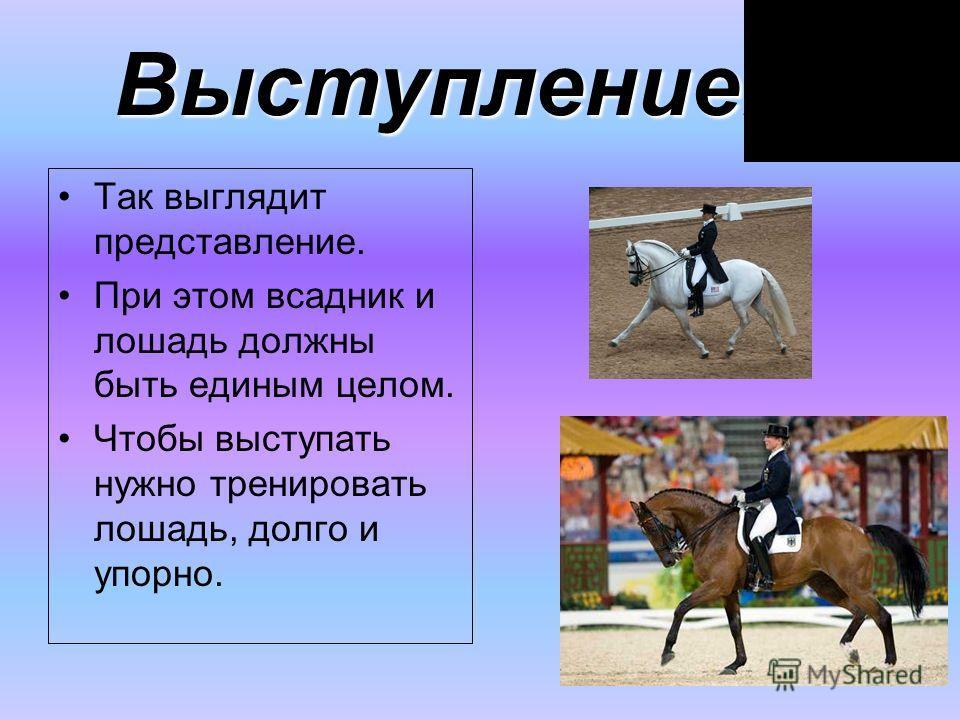 Так выглядит представление. При этом всадник и лошадь должны быть единым целом. Чтобы выступать нужно тренировать лошадь, долго и упорно. Выступление.