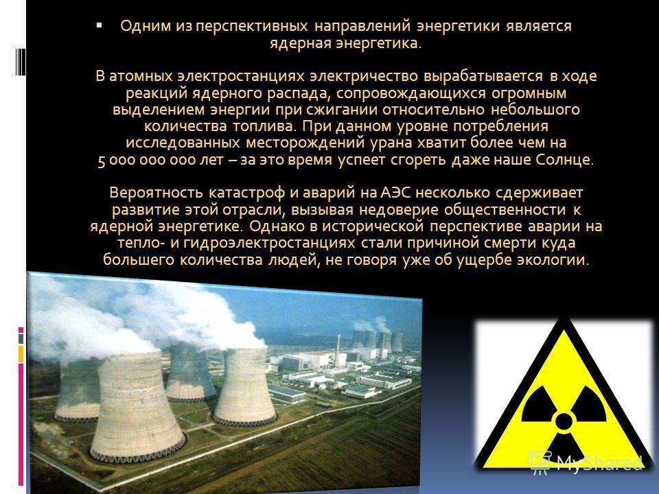 Одним из перспективных направлений энергетики является ядерная энергетика. В атомных электростанциях электричество вырабатывается в ходе реакций ядерного распада, сопровождающихся огромным выделением энергии при сжигании относительно небольшого колич