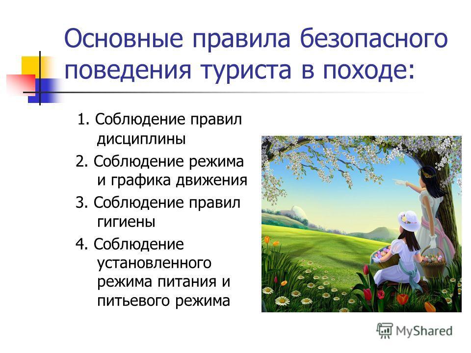 Основные правила безопасного поведения туриста в походе: 1. Соблюдение правил дисциплины 2. Соблюдение режима и графика движения 3. Соблюдение правил гигиены 4. Соблюдение установленного режима питания и питьевого режима