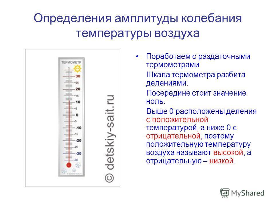 Определения амплитуды колебания температуры воздуха Поработаем с раздаточными термометрами Шкала термометра разбита делениями. Посередине стоит значение ноль. Выше 0 расположены деления с положительной температурой, а ниже 0 с отрицательной, поэтому