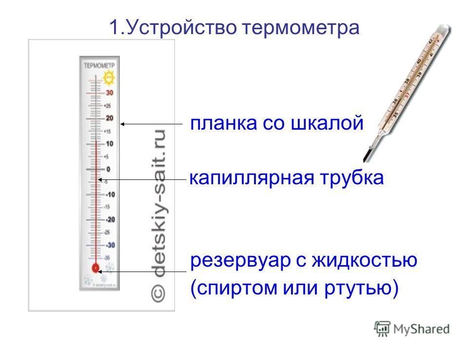 1.Устройство термометра планка со шкалой ……… капиллярная трубка резервуар с жидкостью (спиртом или ртутью)
