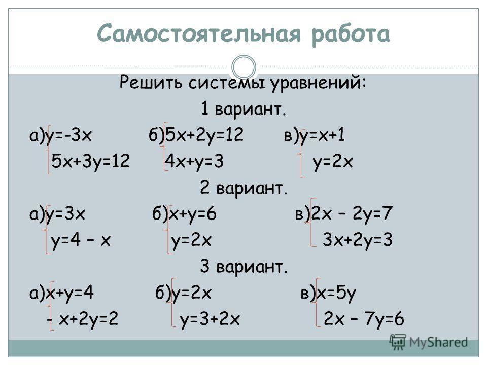Самостоятельная работа Решить системы уравнений: 1 вариант. а)у=-3х б)5х+2у=12 в)у=х+1 5х+3у=12 4х+у=3 у=2х 2 вариант. а)у=3х б)х+у=6 в)2х – 2у=7 у=4 – х у=2х 3х+2у=3 3 вариант. а)х+у=4 б)у=2х в)х=5у - х+2у=2 у=3+2х 2х – 7у=6