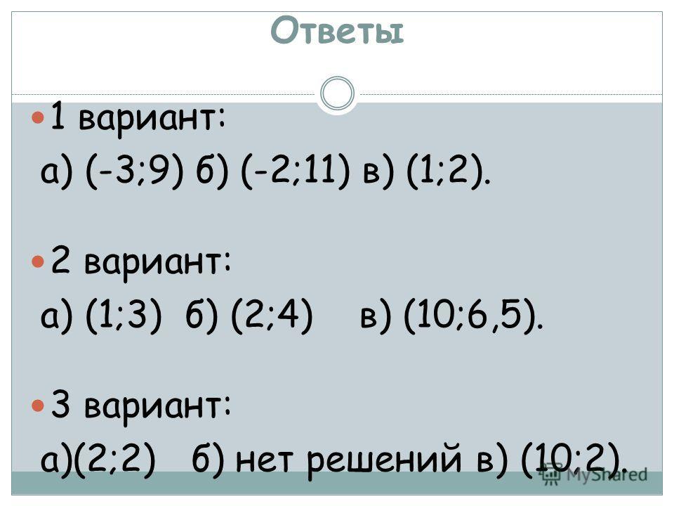 Ответы 1 вариант: а) (-3;9) б) (-2;11) в) (1;2). 2 вариант: а) (1;3) б) (2;4) в) (10;6,5). 3 вариант: а)(2;2) б) нет решений в) (10;2).