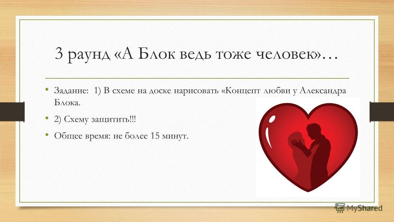 3 раунд «А Блок ведь тоже человек»… Задание: 1) В схеме на доске нарисовать «Концепт любви у Александра Блока. 2) Схему защитить!!! Общее время: не более 15 минут.