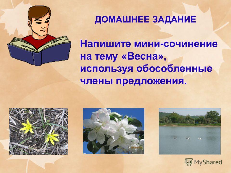 ДОМАШНЕЕ ЗАДАНИЕ Напишите мини-сочинение на тему «Весна», используя обособленные члены предложения.