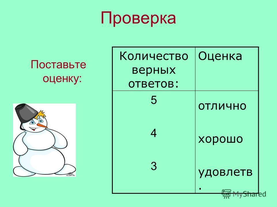 Проверка Поставьте оценку: Количество верных ответов: 5 4 3 Оценка отлично хорошо удовлетв.