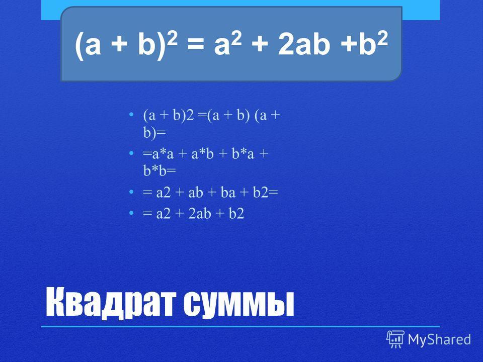 Квадрат суммы (a + b)2 =(a + b) (a + b)= =a*a + a*b + b*a + b*b= = a2 + ab + ba + b2= = a2 + 2ab + b2
