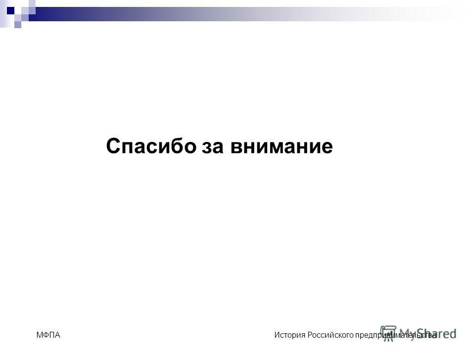 МФПА История Российского предпринимательства Спасибо за внимание