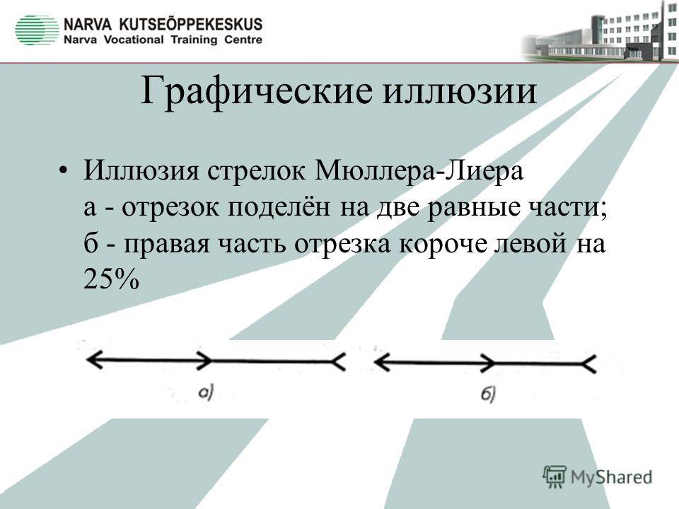 Графические иллюзии Иллюзия стрелок Мюллера-Лиера а - отрезок поделён на две равные части; б - правая часть отрезка короче левой на 25%