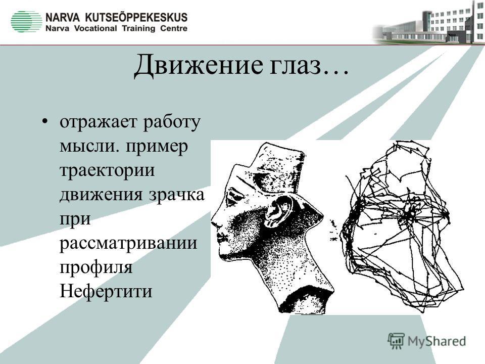 Движение глаз… отражает работу мысли. пример траектории движения зрачка при рассматривании профиля Нефертити