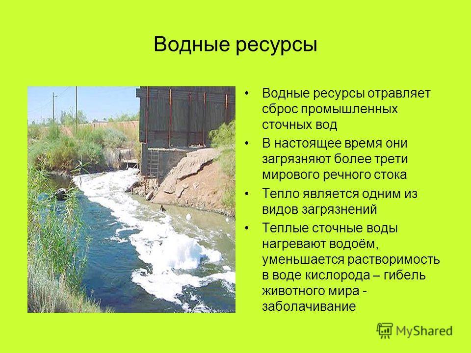 Водные ресурсы Водные ресурсы отравляет сброс промышленных сточных вод В настоящее время они загрязняют более трети мирового речного стока Тепло является одним из видов загрязнений Теплые сточные воды нагревают водоём, уменьшается растворимость в вод