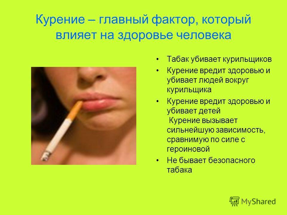 Курение – главный фактор, который влияет на здоровье человека Табак убивает курильщиков Курение вредит здоровью и убивает людей вокруг курильщика Курение вредит здоровью и убивает детей Курение вызывает сильнейшую зависимость, сравнимую по силе с гер
