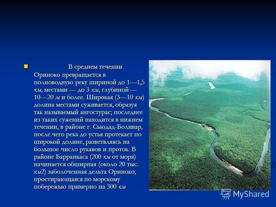 В среднем течении Ориноко превращается в полноводную реку шириной до 11,5 км, местами до 3 км, глубиной 1020 м и более. Широкая (310 км) долина местами суживается, образуя так называемый ангостурас; последнее из таких сужений находится в нижнем течен
