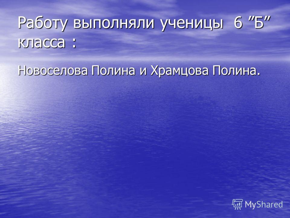 Работу выполняли ученицы 6 Б класса : Новоселова Полина и Храмцова Полина.