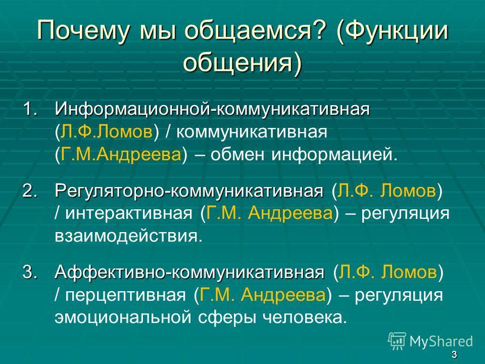 3 Почему мы общаемся? (Функции общения) 1.Информационной-коммуникативная 1.Информационной-коммуникативная (Л.Ф.Ломов) / коммуникативная (Г.М.Андреева) – обмен информацией. 2.Регуляторно-коммуникативная 2.Регуляторно-коммуникативная (Л.Ф. Ломов) / инт